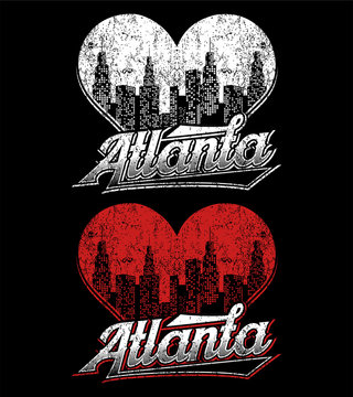 new design atlanta with heart skyline vector design