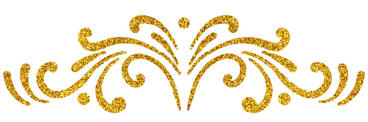 Wall Mural - Golden sparkle vintage symmetrical ornament for greeting card isolated on white