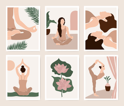 Abstract yoga exercise card set in minimalistic style.