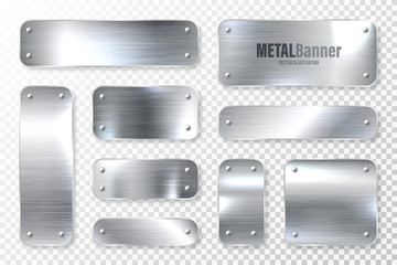 Photo sur Plexiglas Metal Realistic shiny metal banners set. Brushed steel plate. Polished silver metal surface. Vector illustration.