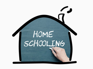 Concept for homeschooling, education, school at home, parent teaching their kids, learning at home.