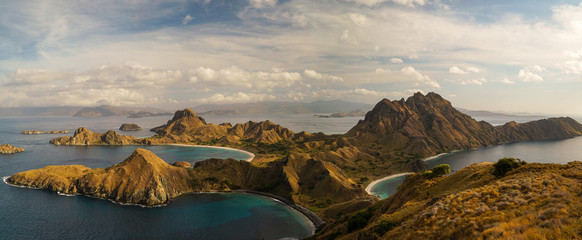 Spoed Fotobehang Bleke violet Panoramic landscape view from the top of Padar island in Komodo islands, Flores, Indonesia.