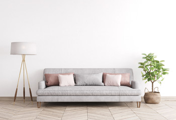 Mock up modern interior sofa in living room, empty wall, Scandinavian style, 3D render