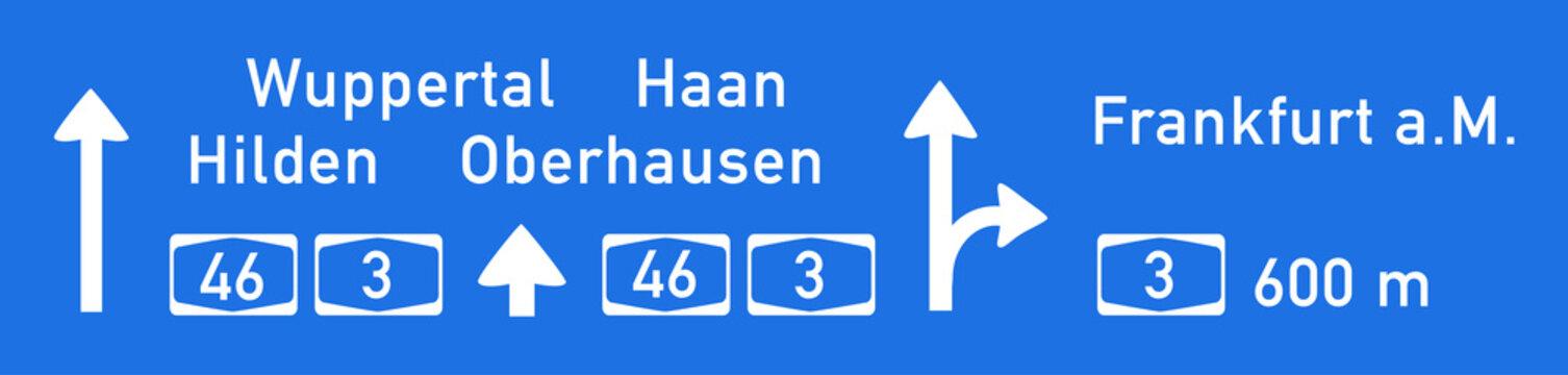Hinweistafel auf BAB 46 Richtung Wuppertal, Nachbildung, Zeichnung