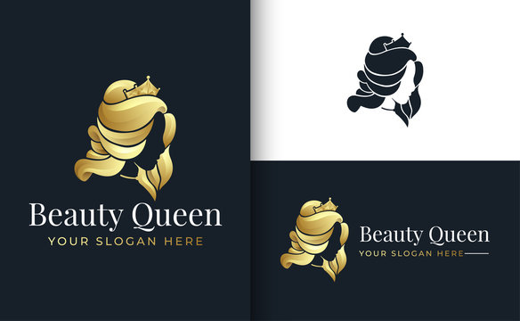 gold queen silhouette logo design