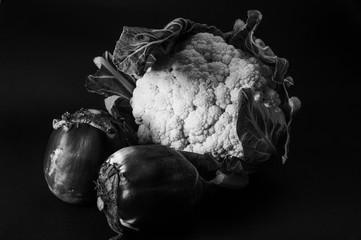 Foto op Canvas Bloemen cauliflower and eggplant black and white
