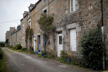 A view shows stone properties in a street in Saint-Jacut-de-la-Mer in Brittany