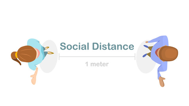 Social distance preventing infection concept : Top view of 1 meter isolation between people (man and woman) to stop spreading of respiratory virus. vector illustration, flat design