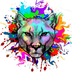 Puma head with creative abstract element on dark background