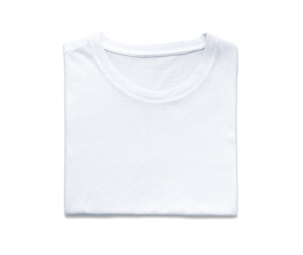 clipping path, top view of folded white color t-shirt isolated on white background