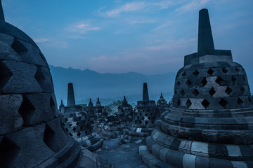 Sunrise at Borobudur, the largest Buddhist temple in the world. Java, Indonesia. A UNESCO World Heritage Site Wall mural