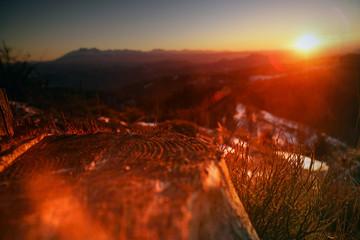 Foto auf Leinwand Violett rot Tatry