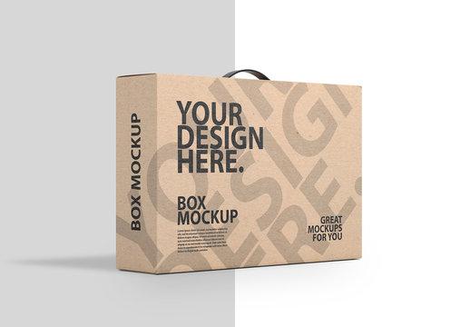 Carton Box with Black Handle Mockup