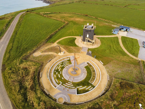Aerial view of the Lusitania Memoral Garden at the Old Head of Kinsale