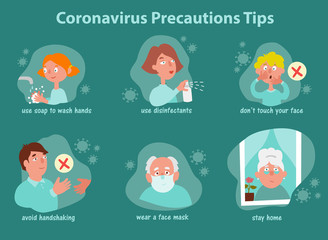 Coronavirus covid-19 safety tips and precautions guide during quarantine. Family illustrations how to prevent disease further virus disease outbreak. Infographics in cartoon style.