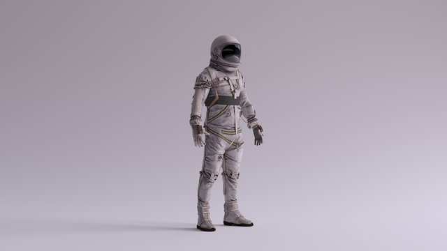 Retro Astronaut with Black Visor and Silver White Spacesuit With Light Grey Background with Neutral Diffused Side Lighting Quarter View 3d illustration 3d render