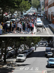 A combination picture shows people praying outside a mosque during Friday prayers March 6, 2020 and a view of same site, now empty, as Friday prayers were suspended in mosques to prevent the spread of coronavirus disease (COVID-19) in Cape Town