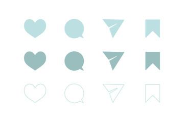 ハート、ふきだし(コメント)、メッセージ送信(紙ヒコーキ)、ブックマーク。シンプルアイコン4種セット。UI/デザインベクター素材