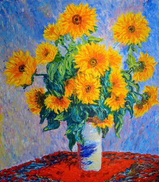 Still life painting. Oil on canvas 60x70 cm. Copy : Sunflowers . C.MONET.