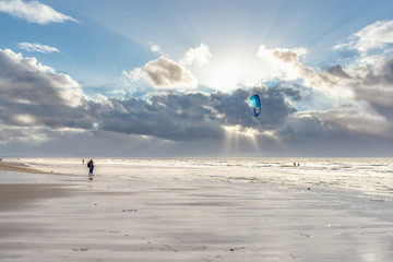 Kite surfers on the beach of St Peter-Ording
