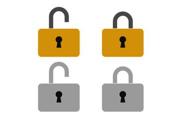 南京錠のシンプルアイコン。サイバーセキュリティ、GDPR、個人情報流出、プライバシー保護イメージUIデザインベクター素材