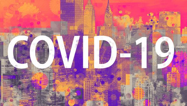 COVID-19 Coronavirus theme with the New York City skyline background