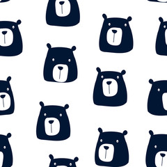 Hand drawing bear seamless pattern vector.