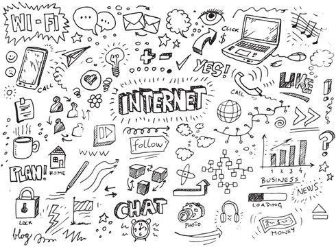 Hand drawn internet vector doodles