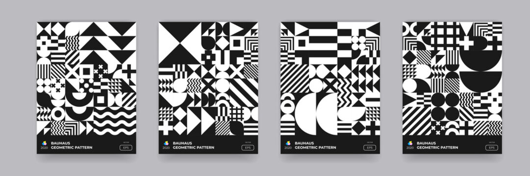 Abstract geometric pattern background, vector Bauhaus circle, triangle and square lines art design. Black and white Bauhaus pattern background, posters set