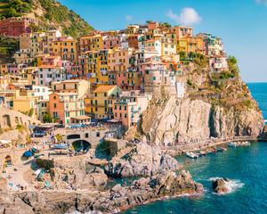 Deurstickers Noord Europa Manarola Village, Cinque Terre Coast Italy. Manarola is a beautiful small colorful town province of La Spezia, Liguria, north of Italy and one of the five Cinque terre national park