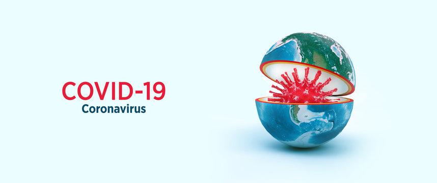 corona virus (COVID-19) spread around the world virus in the world 3d illustration