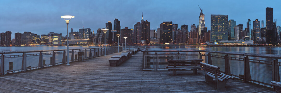 Panorama of Gantry Plaza State Park in Long Island City, Queens, New York in early morning