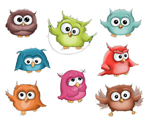 Wall Murals Owls cartoon Illustration funny cartoon cute colorful green pink brown red blue orange owl isolated on white background
