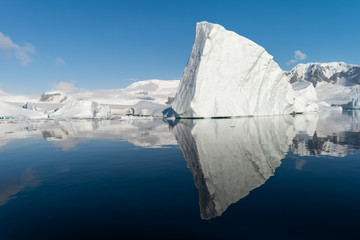 Canvas Prints Antarctica Ice berg reflected in calm water in the Errera Channel in Antarctica