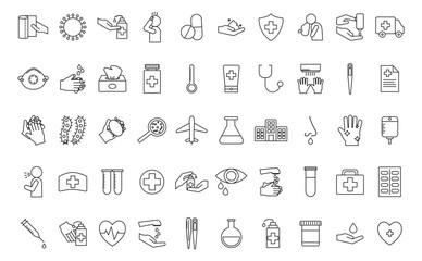 Covid 19 line style icon set vector design
