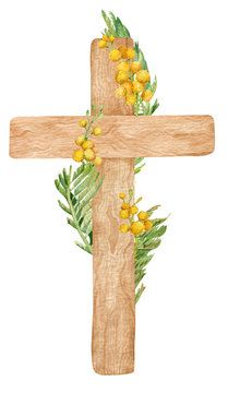 Holy Christ Cross. Watercolor illustration of a wooden cross with yellow mimosa branches