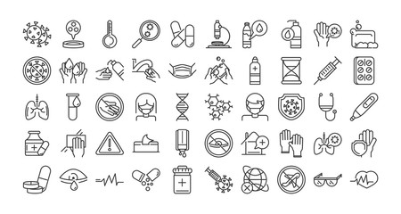 virus covid 19 pandemic respiratory pneumonia disease icons set line style icon
