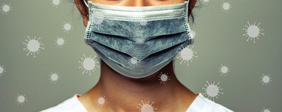 Women Wearing Mask With Coronavirus Floating Around