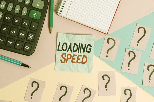 Writing note showing Loading Speed. Business concept for time takes to download and display the content of a web page Mathematics stuff and writing equipment above pastel colours background