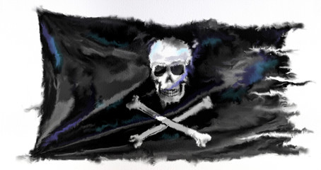 Fotorolgordijn Aquarel schedel Digital watercolor pirate flag isolated on the white background