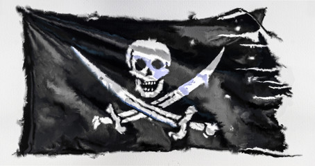 Tuinposter Aquarel schedel Digital watercolor pirate flag isolated on the white background