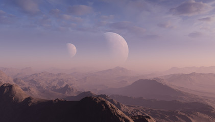 Photo sur Aluminium Lavende 3d rendered Space Art: Alien Planet - A Fantasy Landscape with blue skies and clouds