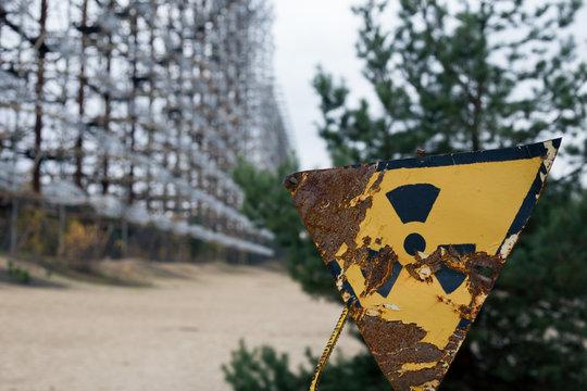 Pripyat radiation warning sign in Chernobyl