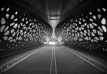 Foto op Canvas Antwerpen An artistic black and white photograph of a bridge in the city of Antwerp expressing symmetry, Belgium.
