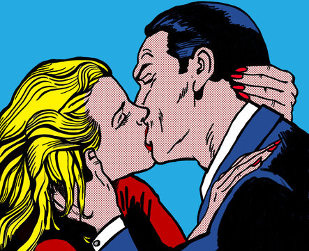kissing couple, in the style of 60s comic books, pop art
