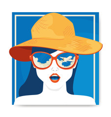 Wall Mural - travel poster and face of woman with hat summer female vector illustration design
