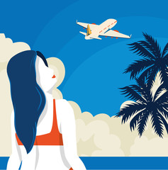 Wall Mural - travel poster with woman and airplane vector illustration design