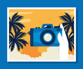 Wall Mural - travel poster with camera and palms tree vector illustration design