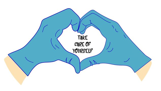 take care of yourself. Hands in medical gloves. Heart with hands. Latex gloves. Virus protection..