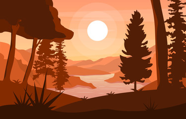 Foto auf Leinwand Braun River Morning Sunrise Afternoon Sunset Mountain Forest Rural Landscape Illustration